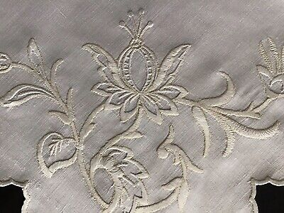Lovely Antique Irish Linen Hand Embroidered Tablecloth~stylised Florals/monogram • 16£