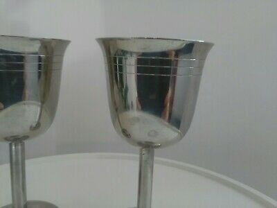 Pair Of Vintage Retro Stainless Steel Wine Goblets  • 3£