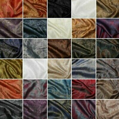 Paisley Jacquard Polyviscose Upholstery Dress Lining Fabric Two Tone 31 Colours • 5.75£