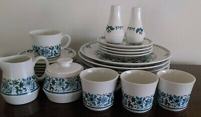 Noritake Progression Blue Moon: Dinner & Side Plates, Salt/pepper, Tea Set - Vgc • 27£