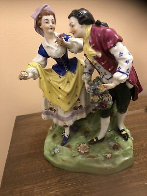 Large Antique Dancing Couple Porcelain Figurine Possibly Capodimonte • 15£