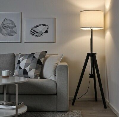 AU178 • Buy IKEA LAUTERS Solid Brown Timber Wood Tripod Floor Lamp White Shade 119-151cm