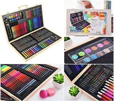 £19.99 • Buy 180 PCS ART SET Children Kids Colouring Drawing Painting Arts Crafts WOODEN Case
