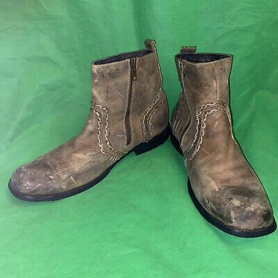 $64.99 • Buy Bed Stu Mens Revolution Leather Boots Size 12Distressed Weathered Zip