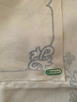 Large Irish Linen Ready To Embroider Tablecloth • 6£