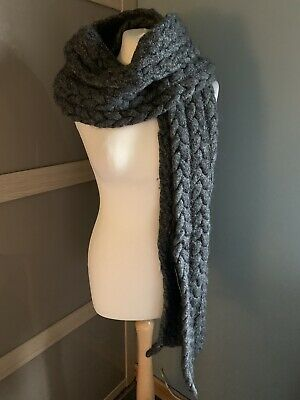 £40 • Buy Mayfair Grey Chunky Long Cable Knit Wool Scarf