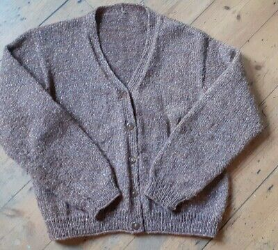 Hand Knitted Brown & Sparkly Wool Cardigan M 10-14 • 8£
