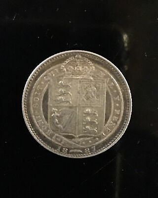 1887 Sixpence - Victoria British Silver Coin • 14£