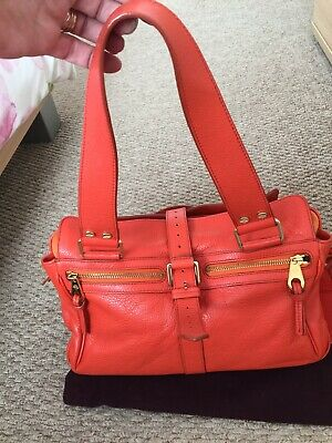 Mulberry Orange Mabel Grained Leather Bag With Dust Bag • 150£