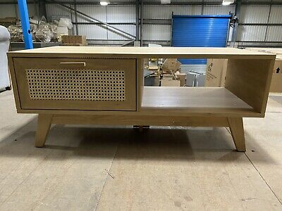 Coffee Table - Rattan And Oak Coffee Table - 1 Drawer • 3.20£