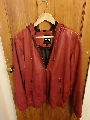 Rare Mens Adidas Y3 Red Leather Jacket Size Medium • 60£