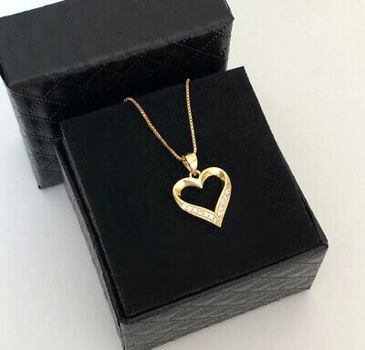 Chain Heart Pendant With Swarovski Crystals Real 925 Silver Gold Plated Jewelry • 27.75£