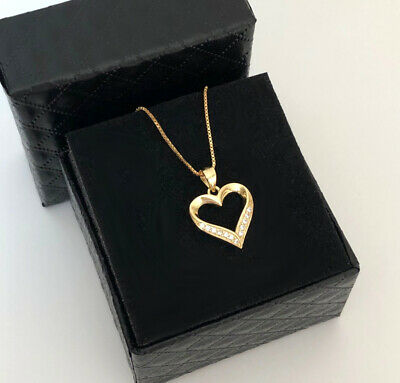 £28.29 • Buy Chain Heart ❤️ Pendant With Swarovski Crystals Real 925 Silver Gold Jewelry Box