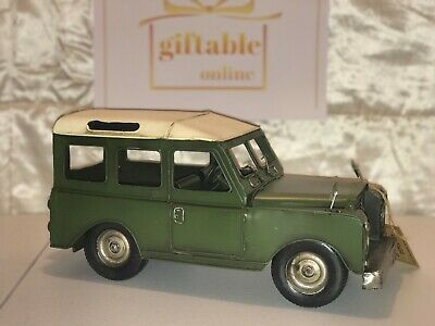 Vintage Transport Land Rover Defender 4 X 4 Model Metal Tin Ornament Collectable • 30£