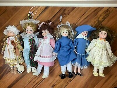 $ CDN60.44 • Buy Vintage Heirloom Collection Porcelain Dolls - 6x Lot: Bo Peep, Victorian, Jester