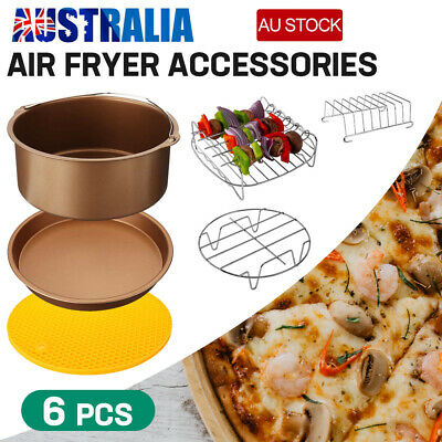 AU21.56 • Buy 6 PCS 7  Air Fryer Accessories Rack Cake Pizza Oven Barbecue FryingPan Tray AU