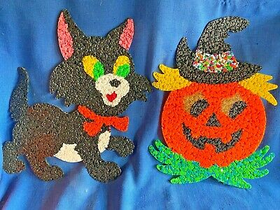 $ CDN64.86 • Buy Vintage 1960s Melted Popcorn Plastic Black Cat Kitty & Jack O Lantern Pumpkin