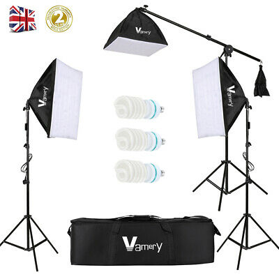 Photography Studio Softbox Lighting Video Continuous Boom Arm Light Stand Kit UK • 62.99£