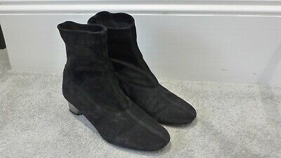 Robert Clergerie Black Suede Leather Stretch Sock Pull On Heel Boots 7.5/37.5 • 55£