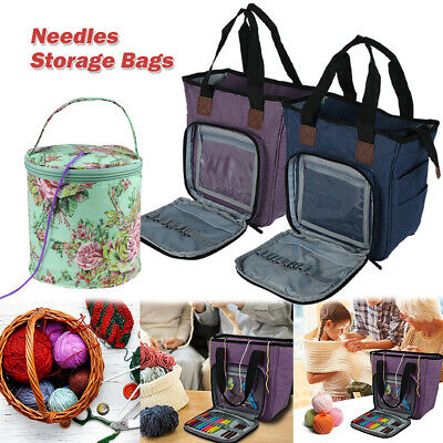 Knitting Storage Bag Case Wool Crochet Hooks Thread Sewing Kits Organizer Bag UK • 16.29£