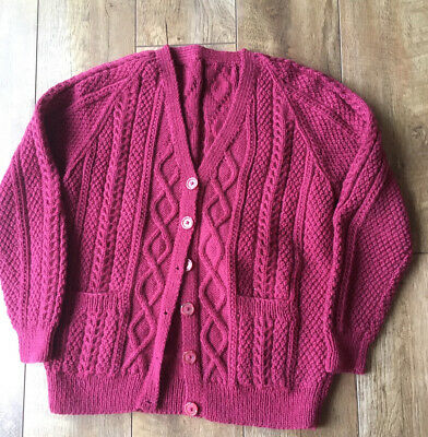 Vintage Cable Cerise Hand-Knitted Cardigan 2 Pockets Pre-Owned VGC • 5.50£