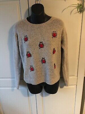 Ladies Owl Christmas Xmas Jumper Size Uk 8 • 7£