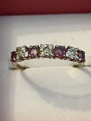 9ct Gold Ruby And Diamond Ring • 95£