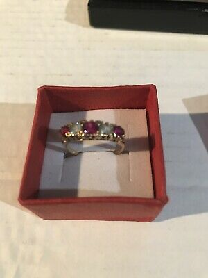 9ct Gold Ruby And White Sapphire Ring • 120£