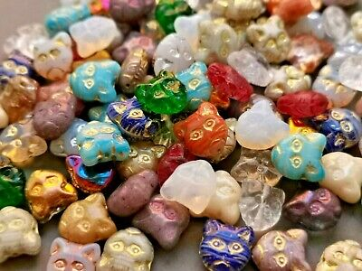Czech Glass Cat Head Animal Kitty Pressed Beads Mix 11 Mm Pack Of 10 • 1.89£