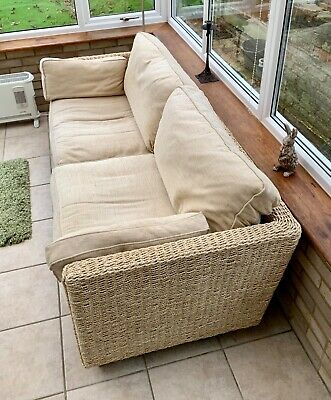 Conservatory M&s Sofa 3 Seater Cream Fabric Cushions C/w Matching Lamp Table • 90£