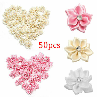 50Pcs Satin Ribbon Flowers With Diamond Appliques Sewing DIY Wedding Decoration • 6.27£