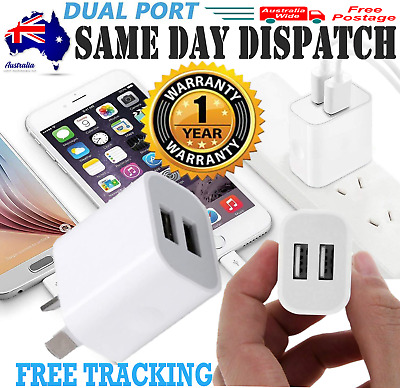 AU5.90 • Buy 2 Port USB Phone Charger Travel 5V 2A Dual USB Wall Charging AC Adapter AU Plug