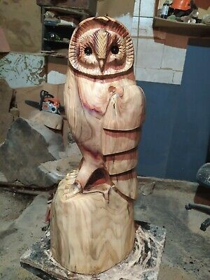 £260 • Buy Great Christmas Gift Sussex Chainsaw Carving Wood Owl Garden Rustic Sculpture