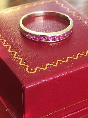 Ladies Vintage 375 9ct Gold Ruby 1/2 Eternity Stacking  Set Ring ~ Size R ~ 2g • 99£