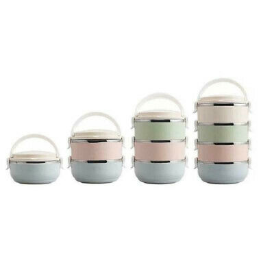 AU39.53 • Buy Stainless Thermo Insulated Thermal Food Container Round Lunch Box 1/2/3/4Layer