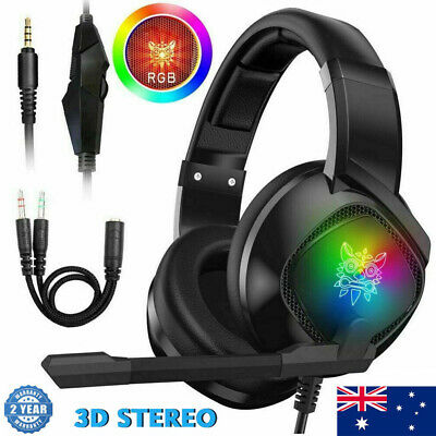 AU29.99 • Buy 3.5mm Gaming Headset MIC RGB Headphones Surround For PC Mac Laptop PS4 Xbox One