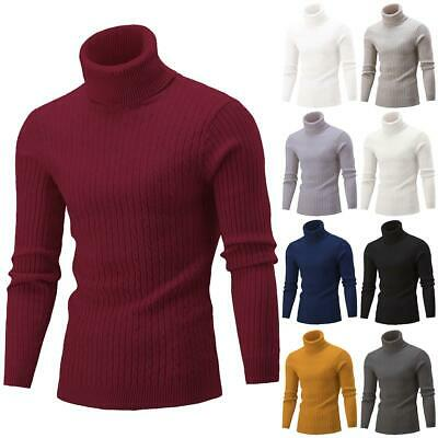Mens Cable Knitted Turtle Polo Neck Jumper Casual Winter Warm Sweater Pullover • 13.65£