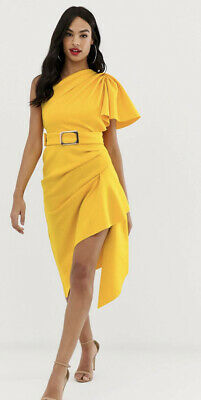 AU42.50 • Buy ASOS Design One Shoulder Belted Pencil Dress Yellow With Tuck Detail Size 12