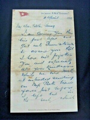 Reproduction Of Original Titanic Letter Dated 11 April 1912 • 4.99£