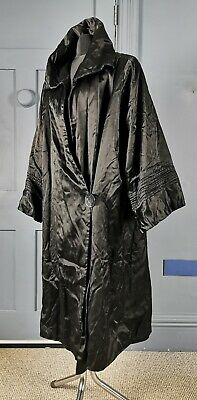 Antique Fashion 1910s / 1920s Black Silk Cocoon Evening Coat • 350£