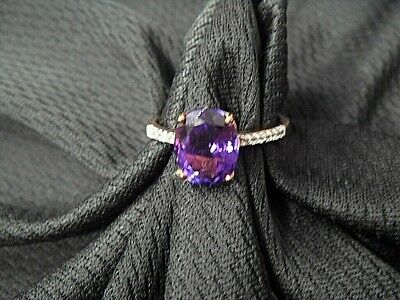 Ladies 9ct Rose Gold Ring Set With Amethyst And Zircon Size N • 70£