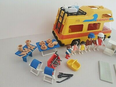 Playmobil Vintage Retro Yellow Camper Van Motorhome With Accessories • 5.90£