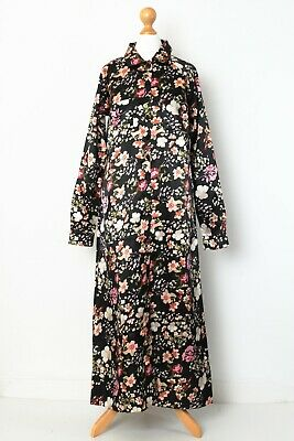 ByTiMo By TiMo XS Size 8 Dark Floral Print Satin Button Front Shirt Dress • 29.99£