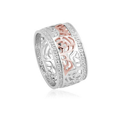 NEW Official Welsh Clogau Silver & Rose Gold Royal Roses Ring £30 Off! SIZE P • 109£
