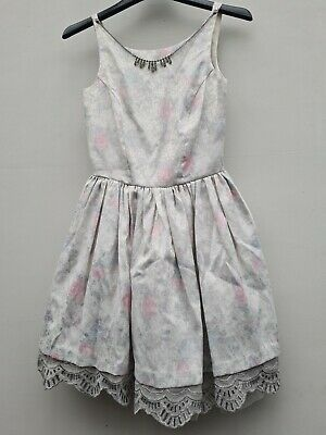 Womens River Island Floral Rose Sparkly Glittery Sequin Jewellery Dress Size 8 • 9.99£