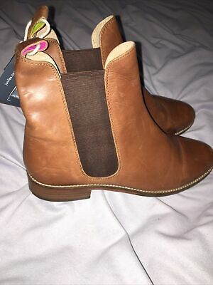 New Ladies Joules Genuine Brown Tan Leather Chelsea Ankle Boots Size 7 • 10.49£