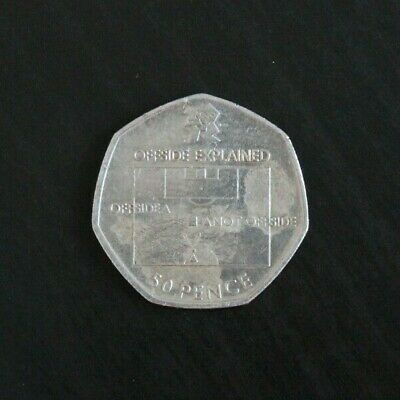 London 2012 Olympic Football 50p Fifty Pence Coin, Heavily Circulated • 4.20£
