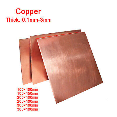 £10.45 • Buy Copper Sheet Square Plate 0.1 0.2 0.3 0.5 0.8 1 1.5 2 3 4 5mm | 100,200,300MM