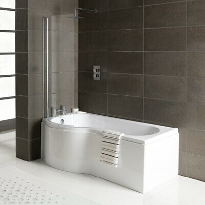 P Shape Shower Bath 1500 1675 1700mm With Screen & Front Panel Left Or Right • 240£