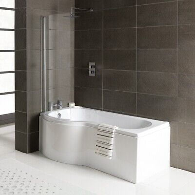 P Shape Shower Bath 1500 1675 1700mm With Screen & Front Panel Left Or Right • 304£